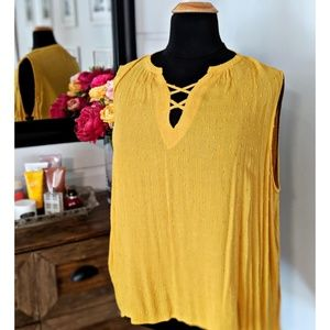 Criss Cross Yellow Blouse- Brand New with Tags